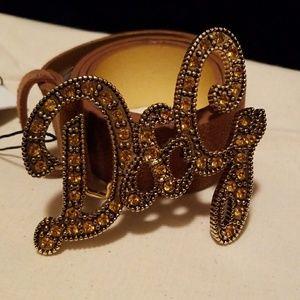 D&G brown/tan suede belt